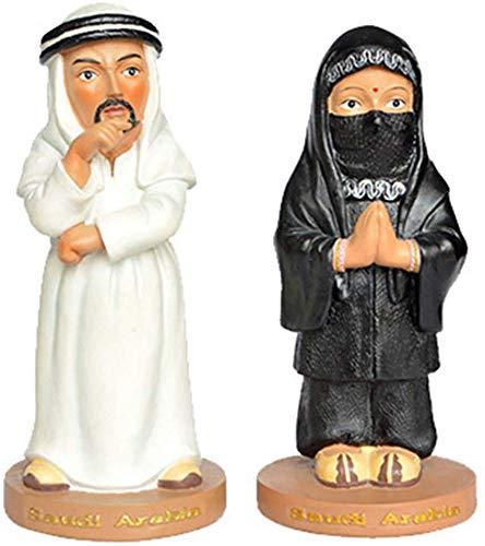 Beeldhouwkunst/decoraties, met de hand beschilderd figuur, beeldhouwwerk paar, Saoedi-Arabische kostuums, Decoratieve Collectibles, Mini Desktop Craft, Geschenken(6.8X6.8X15Cm)