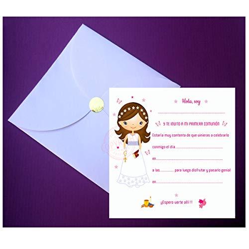 Invitaciones para Primera Comunión Niña Elegantes - Sobre en forma de Pétalo - ¡Sus Amiguitos Alucinarán! (20 unidades)