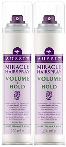2 x 250ml Aussie Miracle Hairspray (Volume + Hold) Flexible Hold Hair Sp