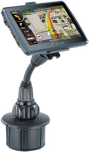 NavGear Halter für Navi im Auto: Navi-Schwanenhals-Halterung für Kfz-Getränkehalter (Navigationsgeräte-Halterung Kfz)