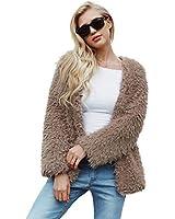 Gets Womens Fashion Faux Fur Teddy Coat Winter Warm Shaggy Sherpa Jacket Fleece Fuzzy Shearling Jacket Casual Oversize Long Sleeve Lapel Outwear (Khaki,M)
