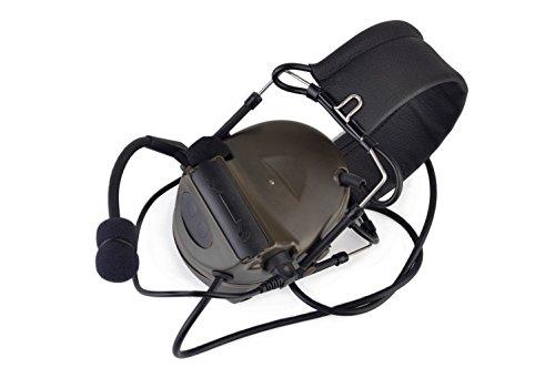 IRON JIAS Hunting Headset Shooting Tactical Earmuffs Aviation Headphone Noise Canceling Hearing Protection NATO Plug (Dark Brown)