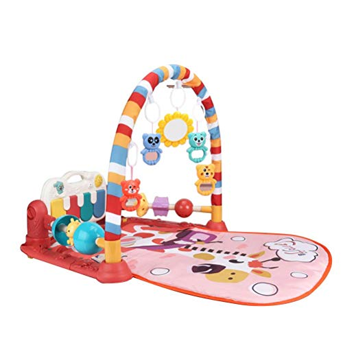 Yumoo - Tappetino musicale per neonato, motivo: calci e pianoforte, per palestra, giocattolo per neonati e bambini, età 0 + (giraffa rosa)