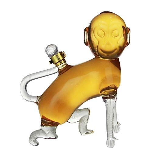 DXQDXQ Decantador de Whisky Botella del Zodiaco Botella de Vidrio de Borosilicato Libre Botella de Vino sin Plomo Regalo de Vino for Licor Scotch Bourbon Vodka (Color : Monkey, Size : 500ml)