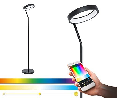 EGLO connect LED Stehlampe Marghera-C, 1 flammige Stehleuchte aus Stahl und Kunststoff in Schwarz, Weiß, Farbtemperaturwechsel (warm, neutral, kalt), RGB, dimmbar, Lampe mit Tritt-Schalter