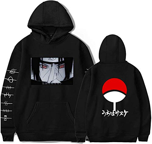 ccaat Japanese Anime Naruto Hoodie Itachi Sasuke Baumwolle Pullover Streetswear Casual Sweatshirts Cosplay (Black2,M)