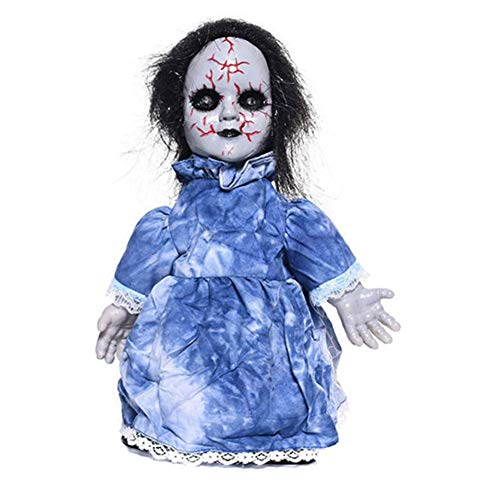 KKING Kids Christmas Creepy Doll Toy, Toy Haunted Scary Talking Walking Doll Halloween Glowing Props with Sound