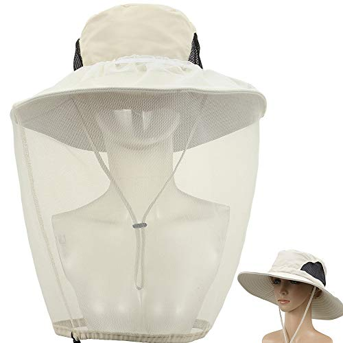 Outdoor Mosquito Head Net Hat,2 Pack Bucket Hats for Safari Fishing Gardening Hiking Wide Brimmed with Removable Veil Mesh Neck Flap,Protection from Sun Bee Insect for Women Men,Beige