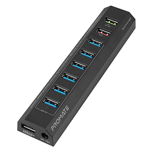 Powered USB-hub, Superspeed 8-Port USB 3.0 Hub met 6 USB 3.0 gegevensoverdracht laadpoort, Qualcomm QC 3.0 en 12W Smart laadpoort, voeding voor PC, laptop, MacBook Pro, SmartHub-QC8, EU-stekker