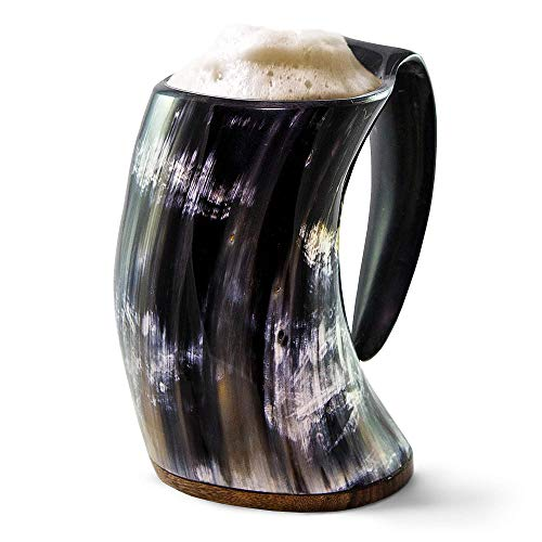 Norse Tradesman Original Viking Drinking Horn Mug - 100% Authentic Beer Horn Tankard w/Rosewood Base...