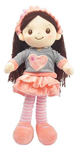 Linzy Plush L-98436PE Jane Trapo muñeca de 16 Pulgadas, Melocotón, 40.64 cm