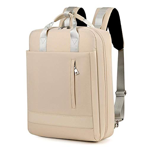 LHSOO Large-capacity waterproof nylon school bags for men and women, laptop and tablet bags, outdoor travel handbags 30x43x11cm Ivory