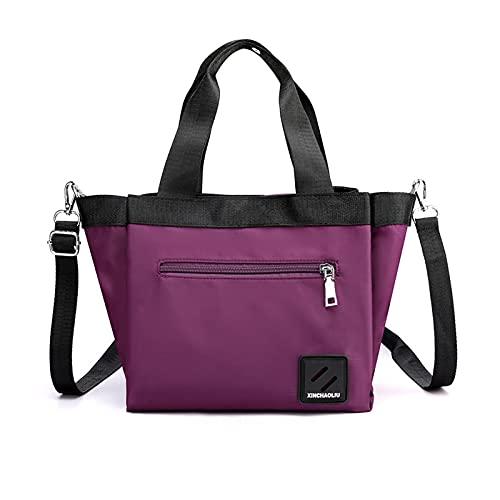 PORRASSO Bolso Totes para Mujer Bolsa de Hombro de Moda Bolsos Bandolera Ligero Nylon Bolsos de Mano para Compras Viajes Escolares Trabajo Púrpura