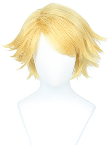 Linfairy Short Straight Blonde Cosplay Wig Halloween Costume Wig for Men sung