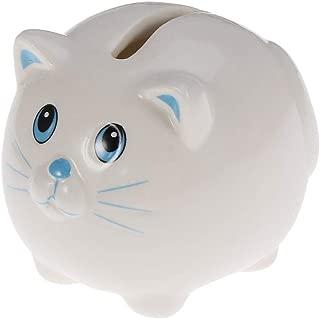 Money Banks Ceramic Piggy Bank Cat Safe Money Coins Banknotes Saving Box for Kids Boys Girls Piggy Bank Decoration (Color : White)