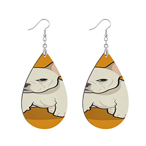 XHYYY Teardrop Wooden Earrings Drop Dangle Earings Lightweight French Bulldog...