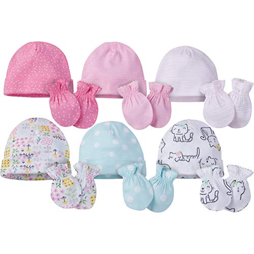 Onesies Brand Baby Girls' 12-Piece Cap and Mitten Set, cats, 0-6 Months