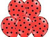 12 Globos Látex 30cm Rojo Lunares Neri Decoración Cumpleaños