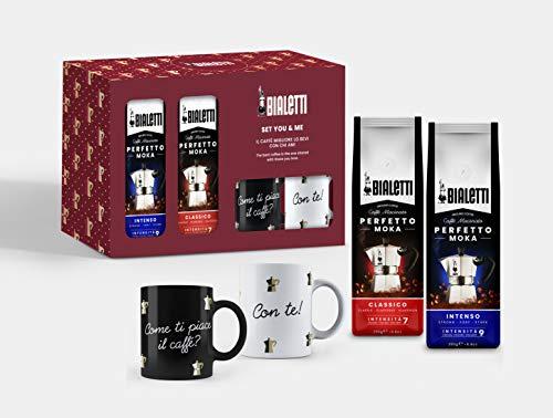 Bialetti You&Me Mug Set: 2 Tassen (schwarz und weiß) + 2 Beutel gemahlener Kaffee Perfetto Moka (klassischer und intensiver Geschmack) von 250 g, Geschenkbox, Keramik