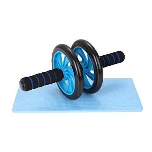 TOMSHOO Rueda Abdominales Fitness Kit,AB Roller y Esterilla Antideslizante para Rodillas Fitness Aparatos para el Hogar Aparatos Portátiles para Entrenamiento de Fuerza Muscular Fitness (2 en 1 Azul)