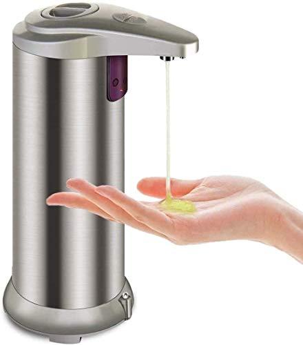 Soap Dispenser, Touchless Automatic Soap Dispenser, Waterproof Base Stainless Steel Infrared Sensor Type Adjustable Soap Dispenser for Family Restaurants
