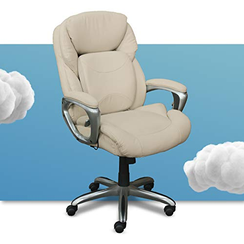 Serta My Fit Executive Office Chair with 360-Degree Motion Support for Lumbar, Adjustable Ergonomic Chair with Layered Cushions, Bonded Leather, Ivory White