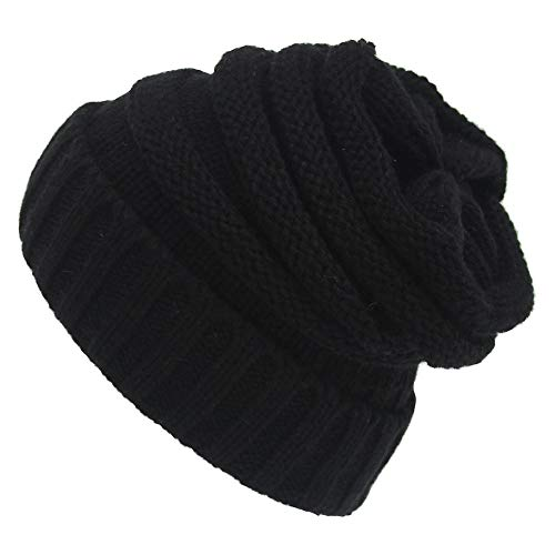 Deals Womens Ponytail Beanie Hat, Pony Tail Warm Winter Hat for Messy Bun Ponytail Hole,No Messy Hair Ponytail Beanie Hat (Black)