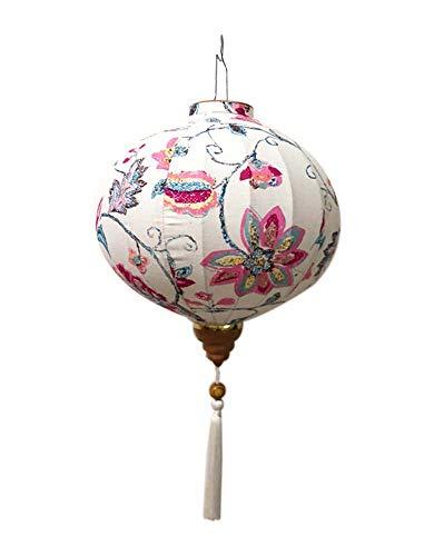 Panda Legends 14 '' chinesische Art-Stoff-Laterne-runde hängende Laterne für Gartenfest-Hochzeits-Lampenschirm, Hydrangea