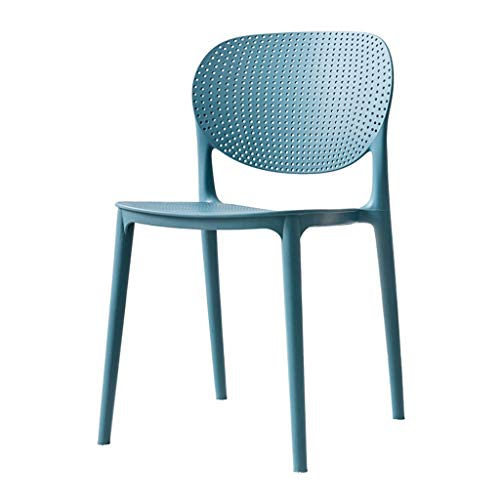 Yuansr Home in Style Plastic Chairs Lounge Armchair Indoor & Outdoor White Plastic Lawn Chairs Garden Patio Armchair Stacking Stackable (Color : Blue)
