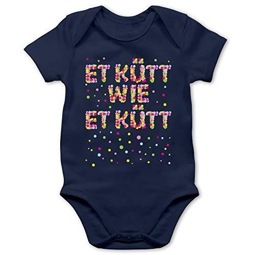 Shirtracer Karneval und Fasching Baby - Et kütt wie et kütt - Konfetti - 3/6 Monate - Navy Blau - Geschenk - BZ10 - Baby Body Kurzarm für Jungen und Mädchen