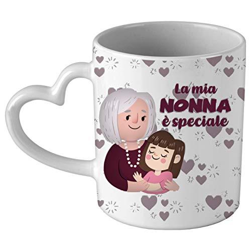 My Custom Style Tazza CUORE manico bianco#Festa nonni-Mia Nonna#325ml