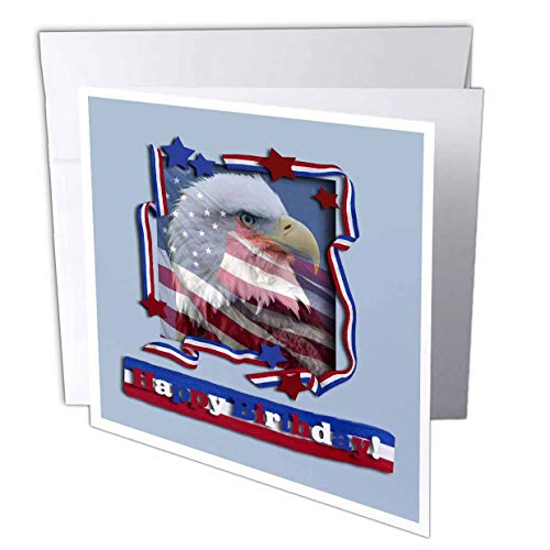 3dRose Happy Birthday Patriotic Eagle - Greeting Cards, 6 x 6 inches, set of 12 (gc_16338_2)