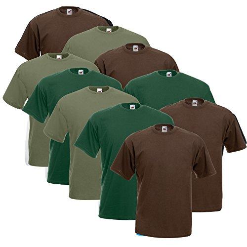 10 Fruit of the loom T Shirts Valueweight T Rundhals S M L XL XXL 3XL 4XL 5XL Übergröße Diverse Farbsets auswählbar (L, 4 Schoko / 3 Olive / 3 Flaschengrün)