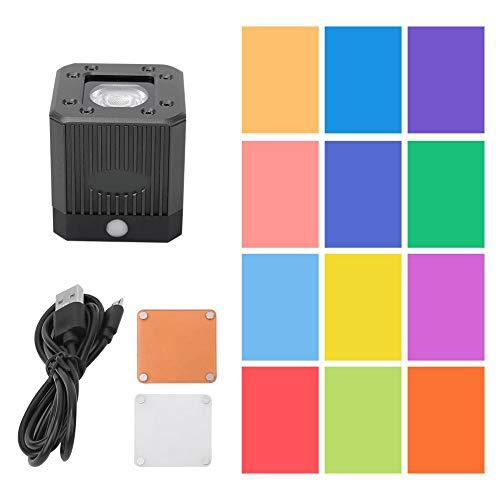 Luz de Video C-08 B Mini Cube COB Luz de Video LED con Orificio de Tornillo de 1/4 de Pulgada para cámara Drone SLR Smartphone para fotografía Profesional