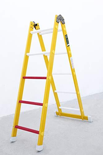 Escalera aislante de un tramo plegable. Permite su uso como escalera de un tramo o escalera de tijera, fabricada en fibra de vidrio. Según norma UNE-EN 131 (10 peldaños)
