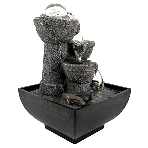 HONG111 Tabletop Fountain, LED Illuminated Zen Meditation Indoor Waterfall Flowing Water Fountains with Ball, Best Feng Shui Gift for Office Bedroom Relaxation(US)