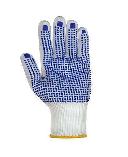 teXXor Handschuhe Feinstrickhandschuhe Nylon weiß/Blaue Noppen 7