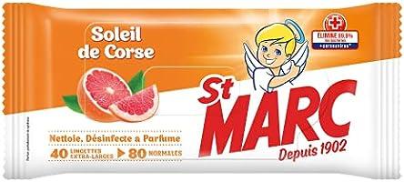 St Marc Lingettes Desinfectantes et Nettoyantes Parfum Agrumes Soleil de Corse - 40 Lingettes Extra-Larges