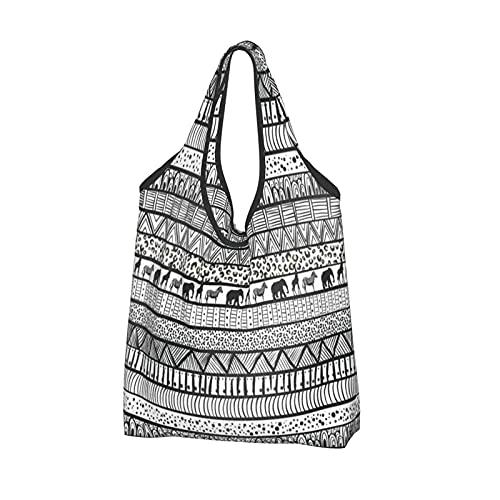 MSINCUDJ Bolsos de la compra para las mujeres Bolsos de hombro plegables reutilizables Bolsos de la compra-Falta diseño de moda de patrón africano tribal blanco