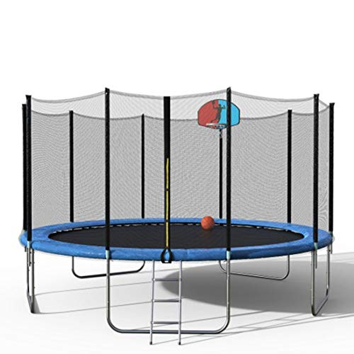 Trampoline 15FT Outdoor Activity Round Bouncing Bed with Safety Fence/Ladder/Basketball Hoop jianmeili (Color : Color1)