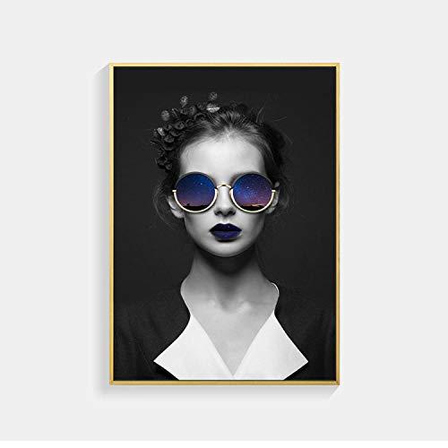 XuFan Vintage Mujer con Gafas de Sol carácter Belleza Lienzo Pintura Pared Arte Imagen Porche Trasero Pintura Decorativa decoración del hogar 40x60cm Sin Marco