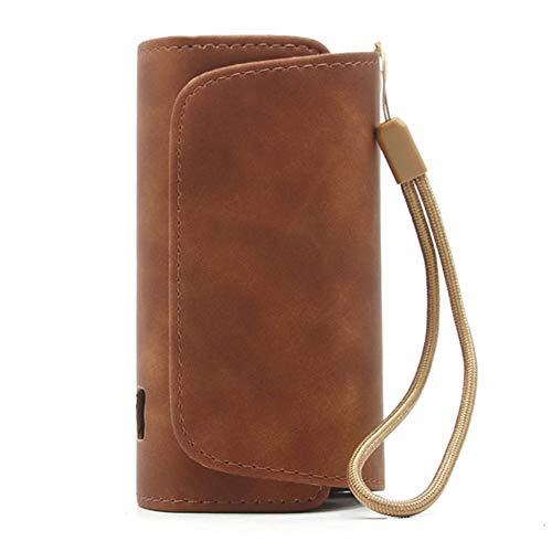 DrafTor E Zigarette Tasche für i-q-o-s 3.0, Schutzhülle aus PU Leder mit Reißverschluss und Verbindungsmittel (nur Tasche)(Kaffee)