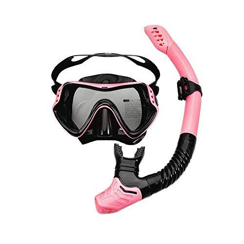 HDFD Set de Snorkel Adultos Set de Snorkel seco antiniebla Máscara de Buceo de Vidrio Templado Máscara panorámica de visión Amplia Gafas de Buceo Equipo de Snorkel de Silicona Profesional-Rosado