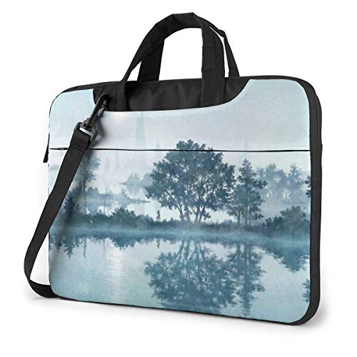15.6″Lightweight Laptop Notebook Shoulder Backpack Bag Fog Trees Mountain Waterproof PC Briefcase Messenger with Strap