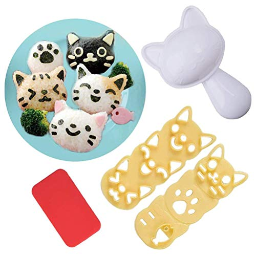 Glacie DIY Rice Ball Mold Set Sushi Maker Mold Cat Shaped...