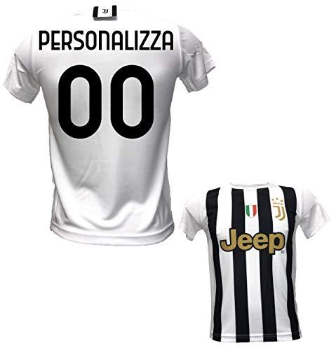 Maglia Calcio bianconera Personalizzabile Replica Autorizzata 2020-2021 Taglie da Bambino e Adulto. Personalizza con Il Tuo Nome o Il Nome del Tuo Giocatore Preferito (M (ADULTO))