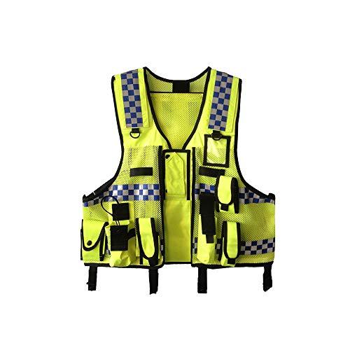 OWSOO Sicherheitsweste mit Taschen, Hohe Sichtbarkeit, Reflektierende Männer Frauen Atmungsaktive, Verkehrssichere Arbeitskleidung
