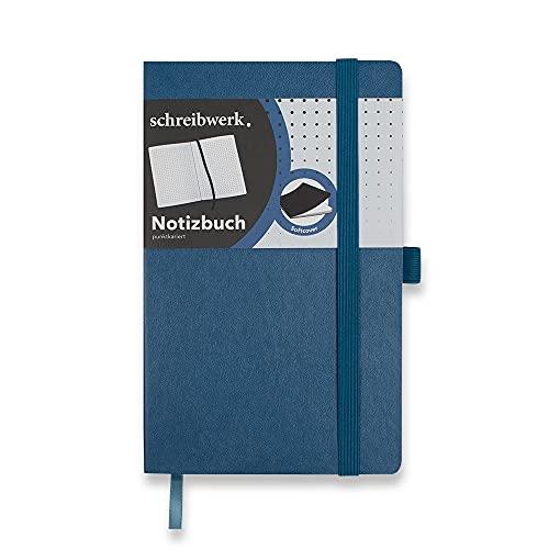 SCHREIBWERK Cuaderno A5, 160 páginas cuadriculadas de puntos, con puntos y numeradas, tapa blanda, color azul