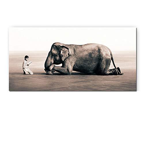 ASLKUYT Fromme Buddhismus Mönch und Elefant Leinwand Malerei Asche und Schnee Poster Religiöser Druck Wandkunst Bild Wohnzimmer-50x80cm ohne Rahmen