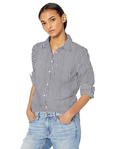 Amazon Essentials Damen Langarm-Bluse, klassische Passform, Popelin, Indigo Stripe, M